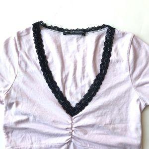 Brandy Melville Tops - Brandy Melville Gina Lace V neck top pink OS